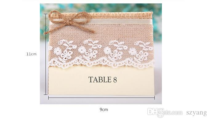 Wedding Table Cards Jute Burlap Reception Table Card With Lace Rustic Wedding Table Numbers Vintage Banquet Decoration