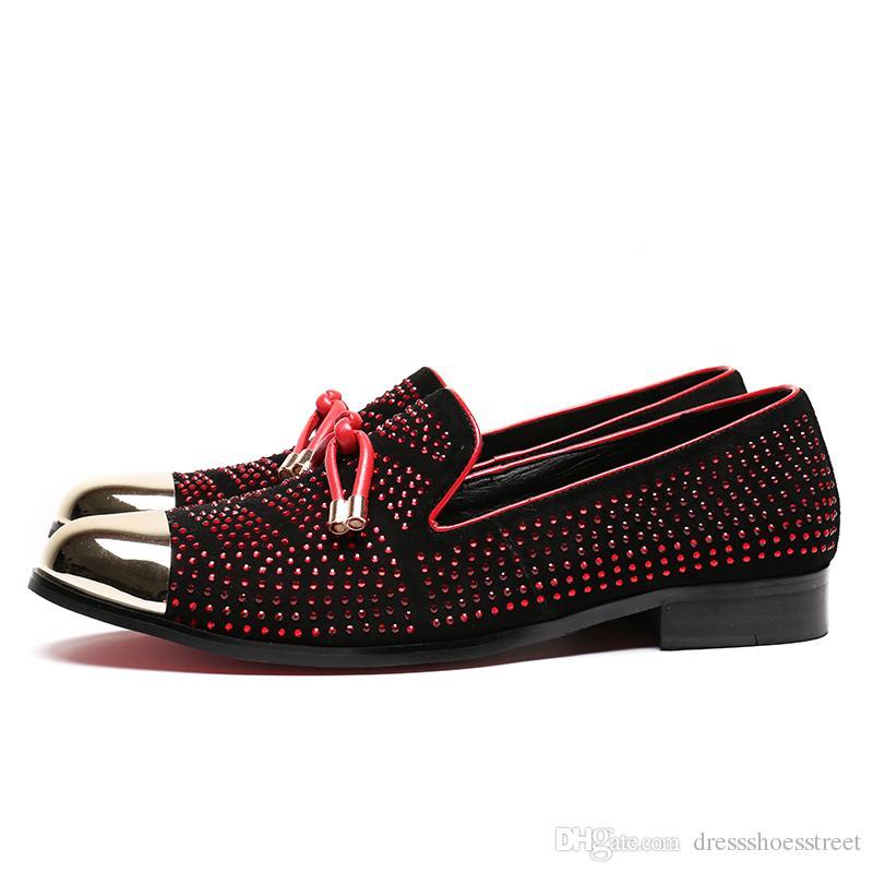 Moda Uomo Mocassini Matrimonio Strass Rosso Business Men Dress Shoes Suede Smoking Slippers Flats Plus Size