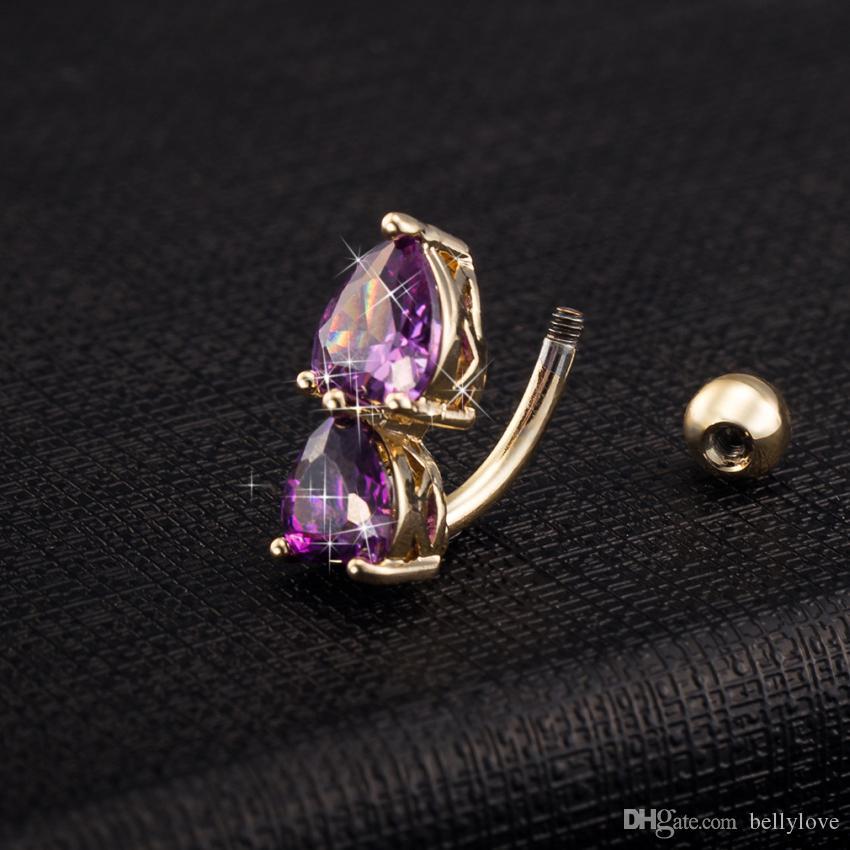 Nette Körperschmuck 18 Karat Gelb / Weißes Gold Überzogene Zirkonia CZ Doppel Herzen Piercing Navel Bell Button Ring Festliches Geschenk