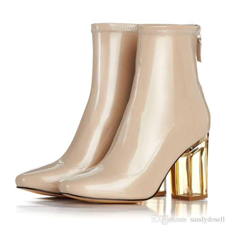 Stylsowner Brand Nude Color Patent Leather Boots For Women High ...
