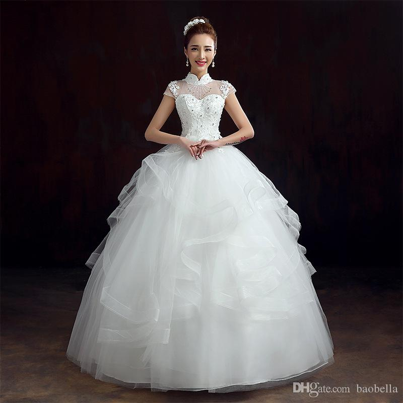 Ball gown custom made cute wedding gowns high neck short sleeve ball gown custom made cute wedding gowns high neck short sleeve keyhole back a line organza wedding dresses with gold appliques couture wedding dress flower junglespirit Choice Image