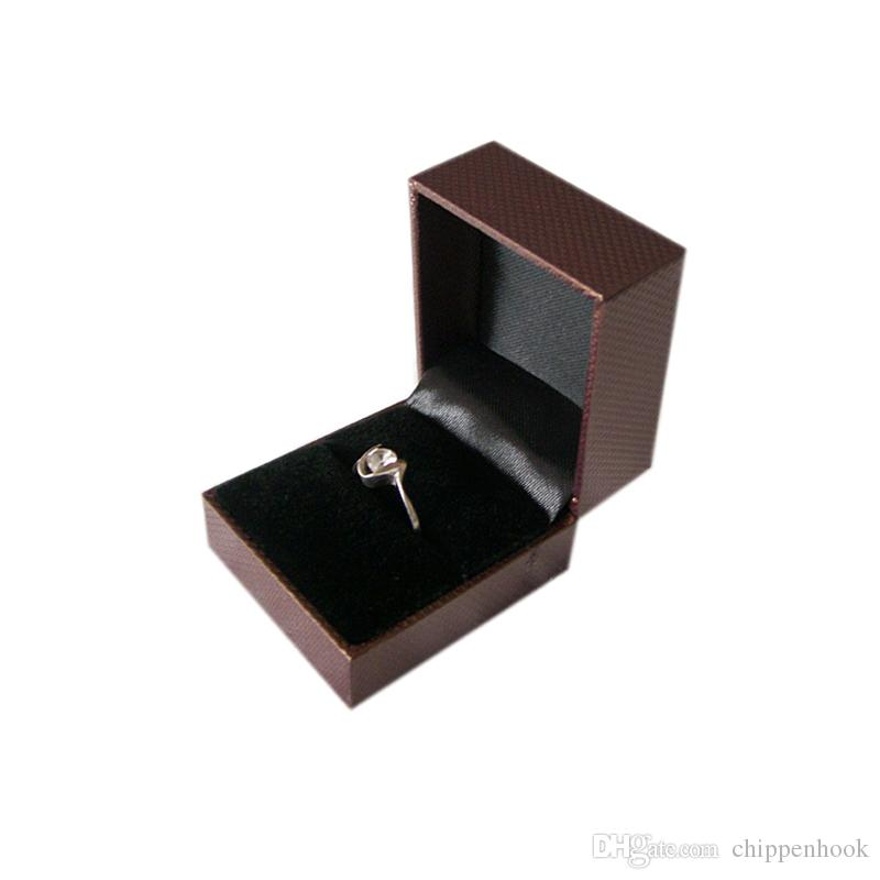 Wholesale Plastic Jewelry Display Box Brown Ring Packaging Box Engagement Ring Gift Storage Box 5*4.5*3.8 CM