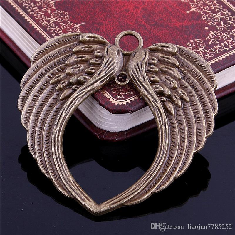 Campana dolce all'ingrosso ordine minimo 5 pz 66 * 69mm tre tonalità di colore grande doppio angelo ala ciondolo charms risultati dei monili D0997-1