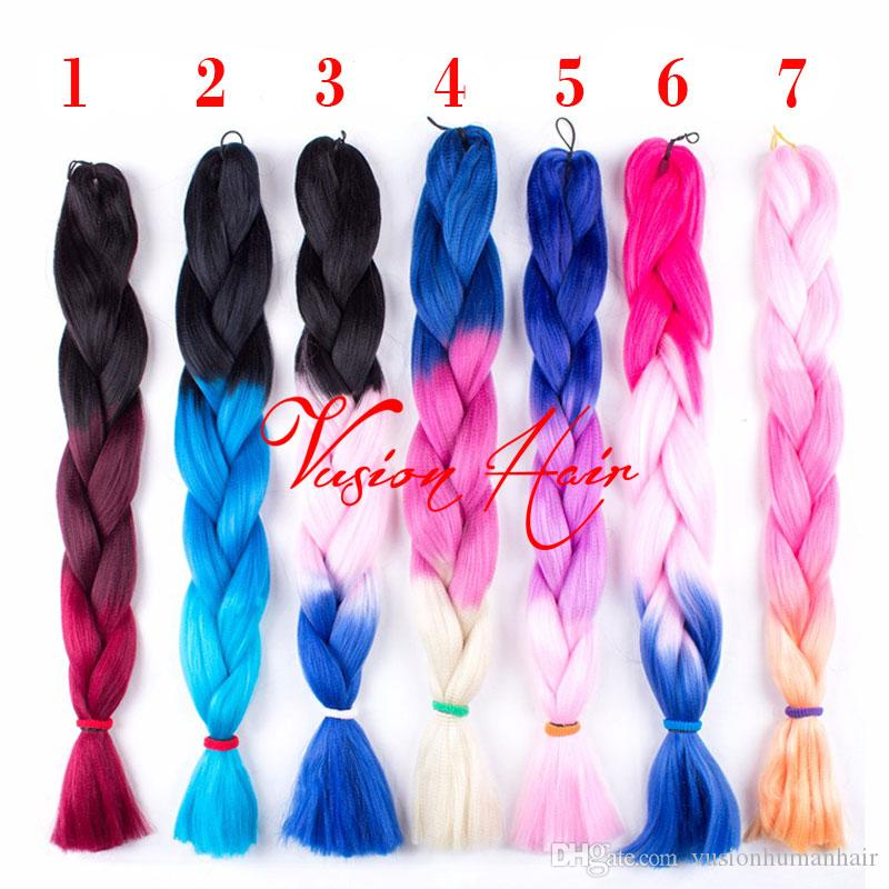 Tres colores Ombre sintético Xpression trenzado del pelo 24inches 100g / pack Jumbo Trenzas Kanekalon Xpression Hair Braiding ganchillo trenzas de pelo