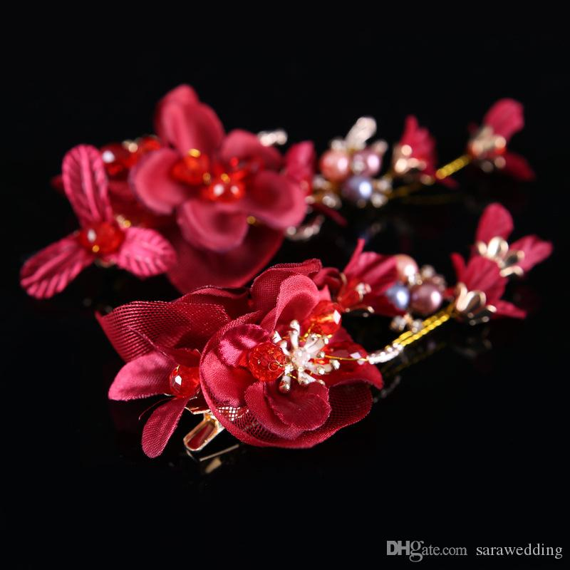 New Fashion High Quality Wedding Bridal Red Flowers Tiara Paired Red Hairpin Headwear Barrettes Wreath Headdress Hair Jewelry 2017