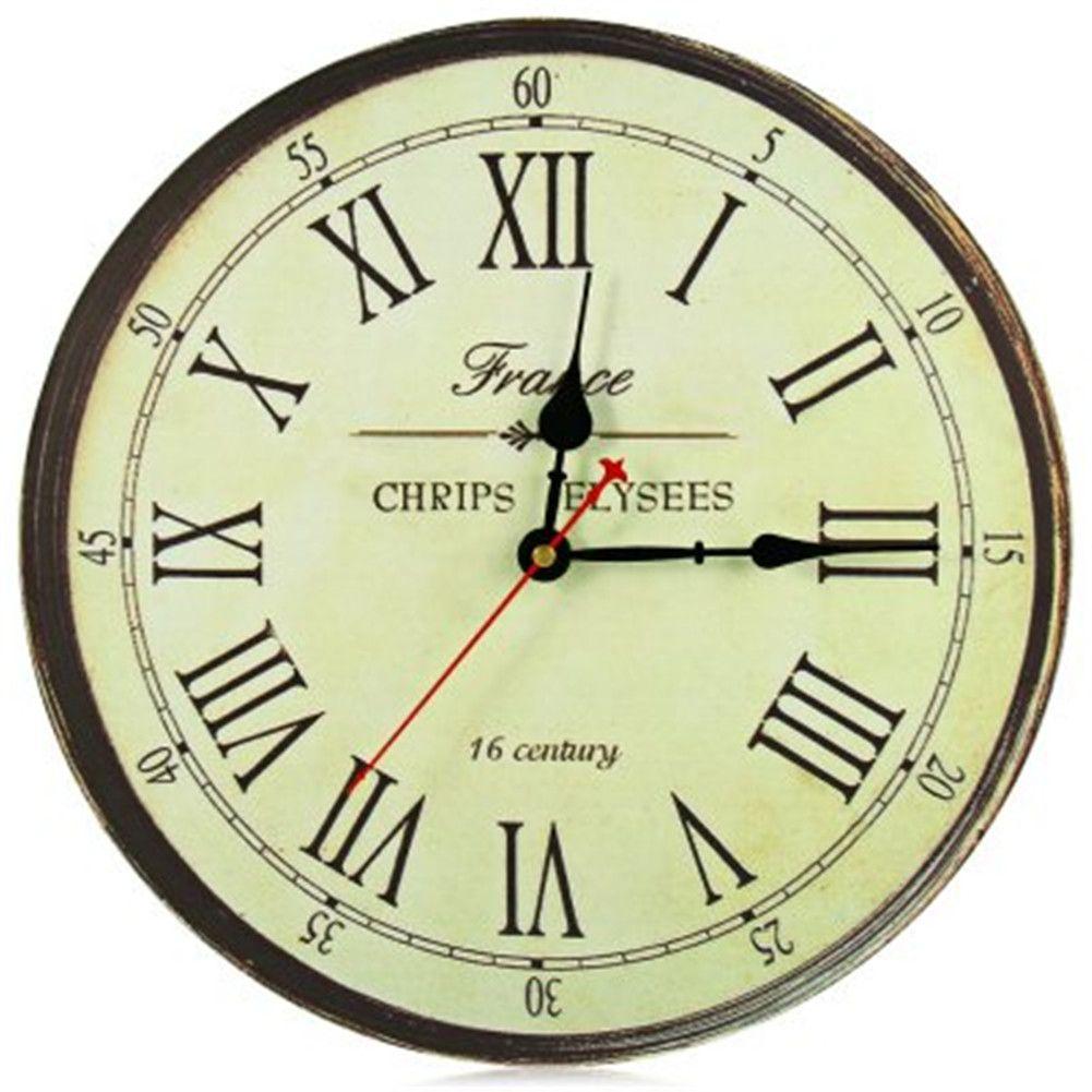 wall clock roman numerals silent antique wooden rustic round retro