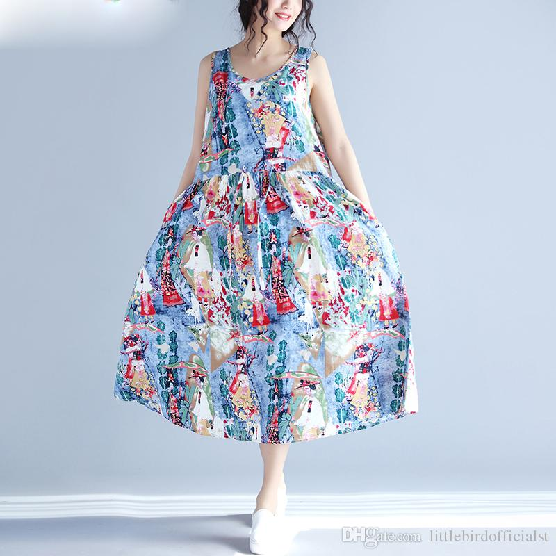 Women Summer Sundress Hawaiian Dress Sleeveless Pattern Print Linen ...
