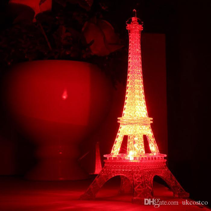 13cm Colorful Eiffel Tower Nightlight Paris Style Decoration LED Lamp Fashion Desk Bedroom Acrylic Light Christmas Gift G1L
