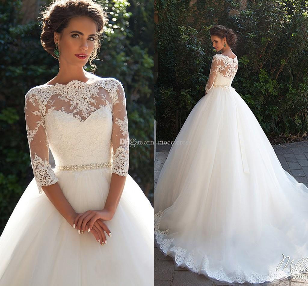 Vintage Lace Wedding Dresses 2019 Bateau 3/4 Long Sleeves Appliques Pearls Sash A Line Plus Size Bridal Gowns Cheap vestido de novia