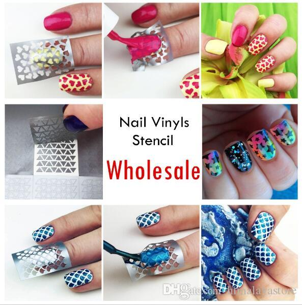 Wholesale 48 Original Nail Vinyls Designs Pretty Manicure Stencil Set Hollow Out Stencils Ship By DHL And EMS Vinyl Art Tool Online
