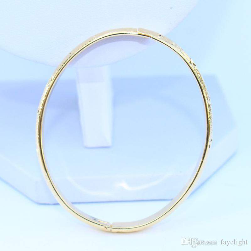 Women Fashion 24K Yellow Gold Filled Openable Bangle Solid Carved Oval Shaped 8MM Bridal Hinged Bracelet