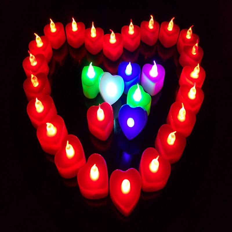 Colorful shell Heart Valentines Candle Romantic Art Tealight Candle red green blue colorful Wedding Xmas holiday decoration Gift for Sale