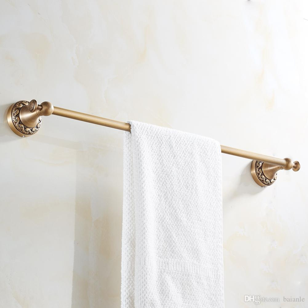 2018 Wall Mounted Towel Bars Brass Single Antique Art Carved Style ...