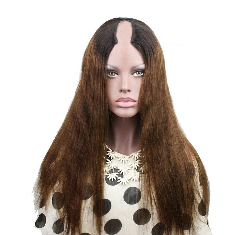T1b/4 Two Tone Ombre U Part Human Hair Wigs Straight Indian Virgin Human Hair Middle Left Right U Part Natural Looking