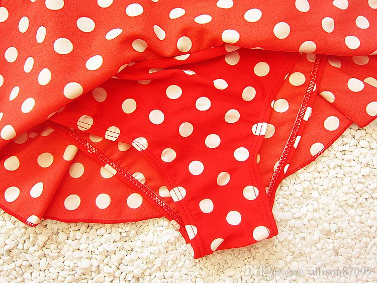 2017 Baby bathing suits Minne swimwear one-piece Big bow Dots Petal skirt Kids Swimsuits Beach clothing DHL