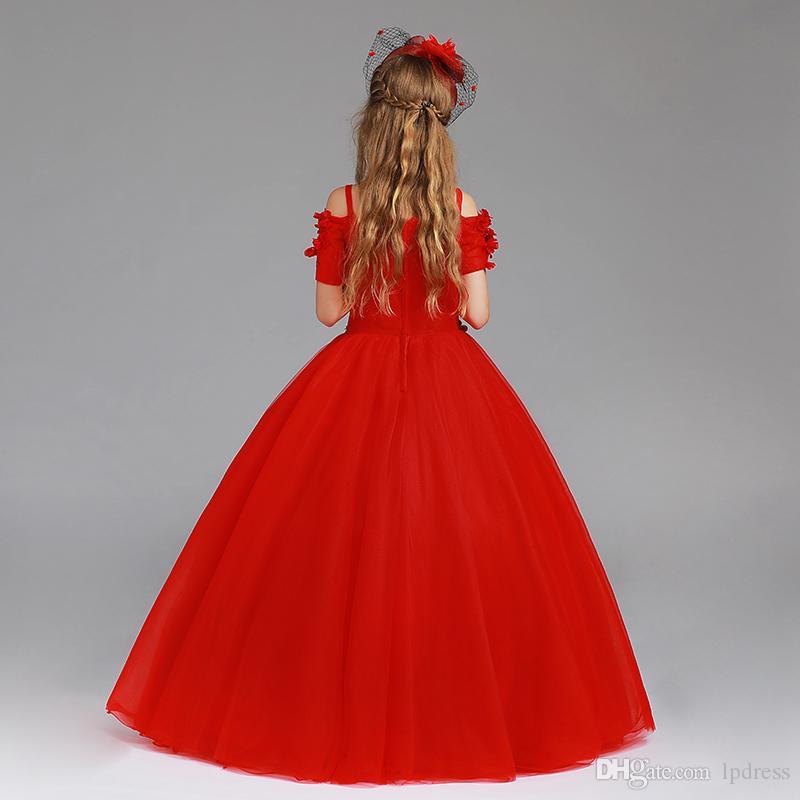Oszałamiający czerwony kwiat dziewczyny sukienki suknia balowa spaghetti sukienka bez rękawów z tyłu podłogi długość dziewczyny przyjęcia sukienki tani ręcznie wykonany kwiat