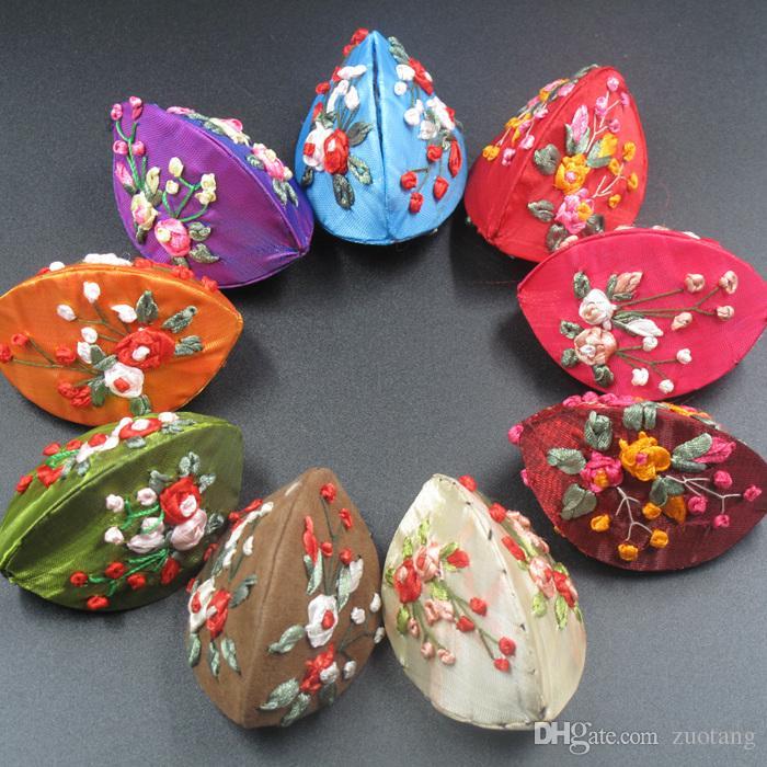 수제 리본 자수 작은 보석 선물 상자 반지 동전 저장 케이스 중국 민족 공예 새틴 천으로 골 판지 포장