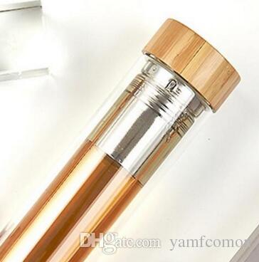 Bicchiere da 400ml Coperchio in bambù Bicchiere da tè a doppia parete. Include filtro e cestello infusore