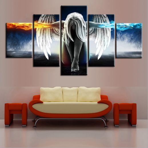 Картина маслом 5 шт / комплект Angel Demons Wing Printed Canvas Аниме номер печати Wall Art Paint украшения Декоративные Craft Picture Home Decor