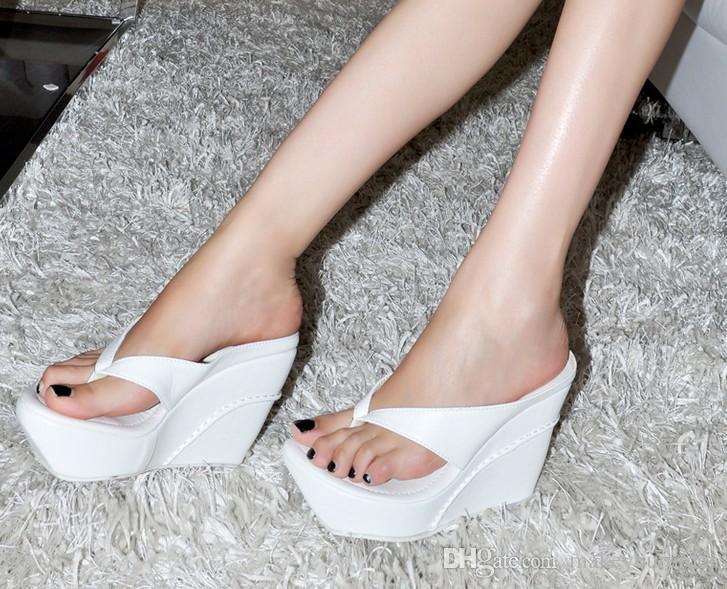 wholesaler factory price wedge heel sandal flip flops Flange Belly button high heel women shoe foreign trade24
