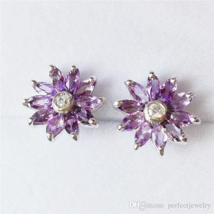 full silver gemstone amethyst earrings handmade sterling post stud at