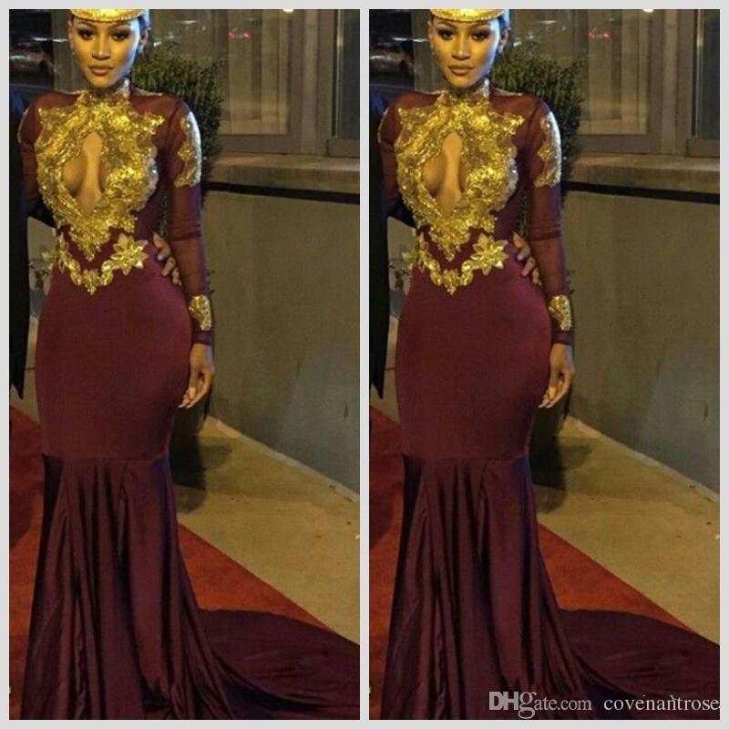 Güney Afrika Altın ve Bordo Gelinlik Modelleri Mermaid Seksi Keyhole Boyun Aplikler Ruffles Katmanlı Parti Elbise 2017 Son Kıyafeti Tasarım