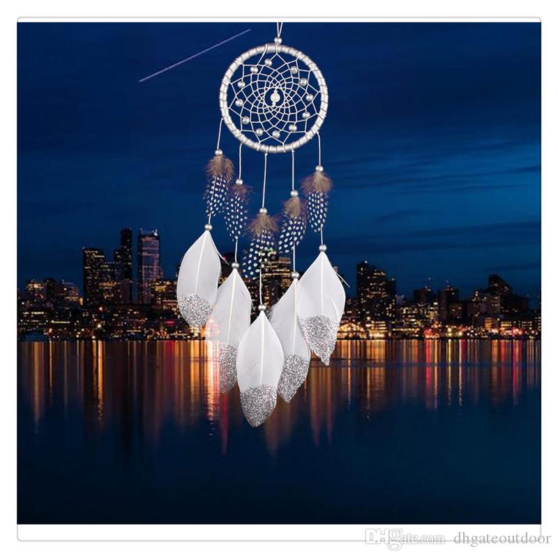 Home Decoration Wind Chime Hanging Handmade Traditional White Feather Dream Catcher Wall Hanging Car Hanging Supplies Ornament