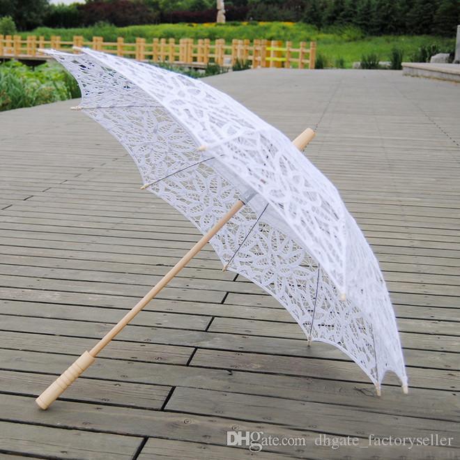 Paraguas de parasol de encaje de la vendimia para bodas de encaje nupcial paraguas hechas a mano Boda Blanco Bebado y beige Bordado Lace Parasol