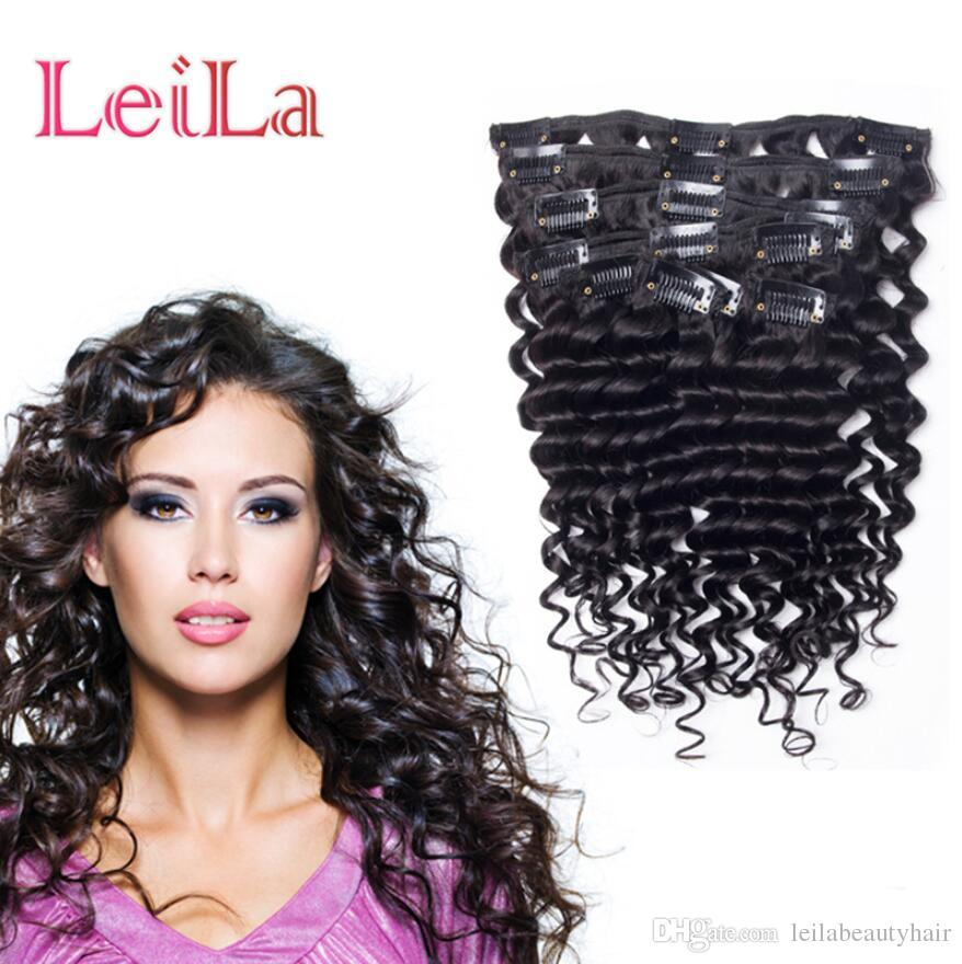 Clip in hair extensions peruvian deep wave 100 120g natural color clip in hair extensions peruvian deep wave 100 120g natural color one set clip in human hair extensions clips for hair extensions snap clips for hair pmusecretfo Images