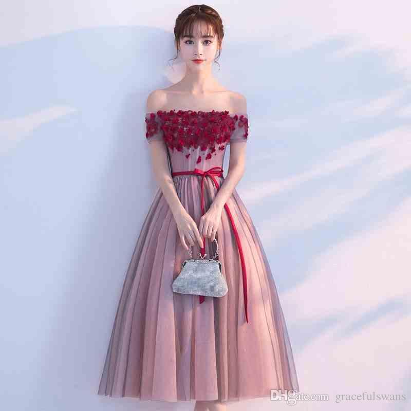 9aaacb5737d Boat Neck Tea-Length Prom Dresses 2017 Hand Made Flowers Elegant Formal  Dresses Off Shoulder Short Sleeve Vestidos De Gala Short Prom Dresses  Graduation ...