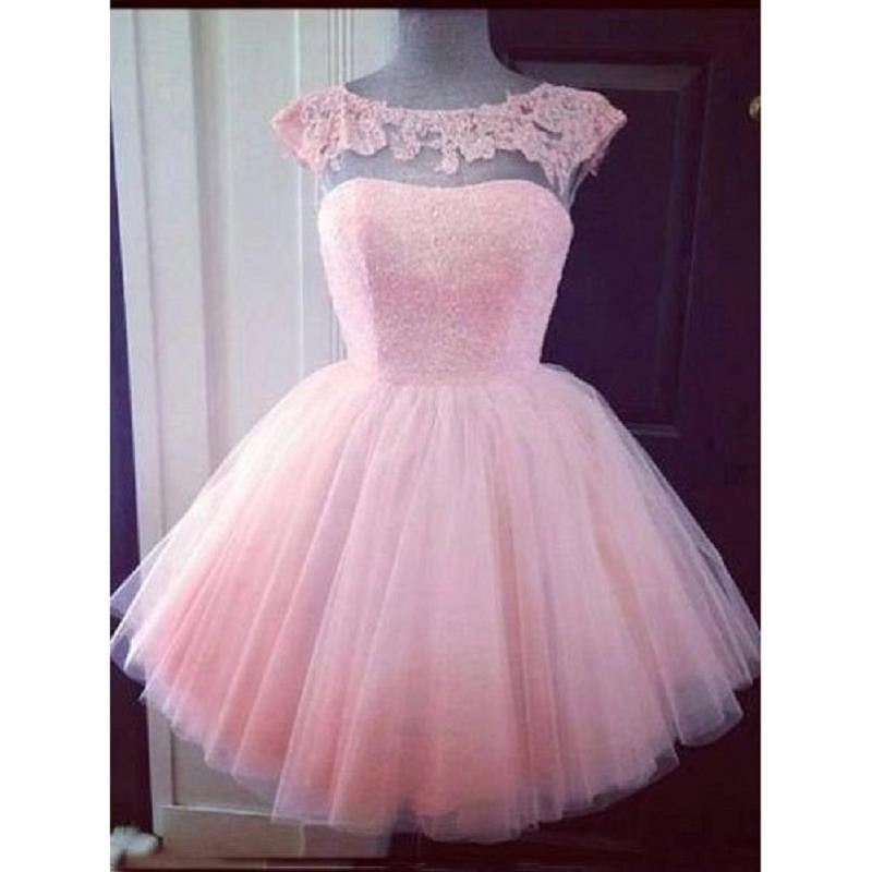 2ba5931c606 2017 Pink Short Ball Gown Homecoming Dresses Tulle Sheer Cap Sleeve Puffy  Real Photo Graduation Party Gowns 16 Year Girl Prom Dress Special Dresses  Vintage ...