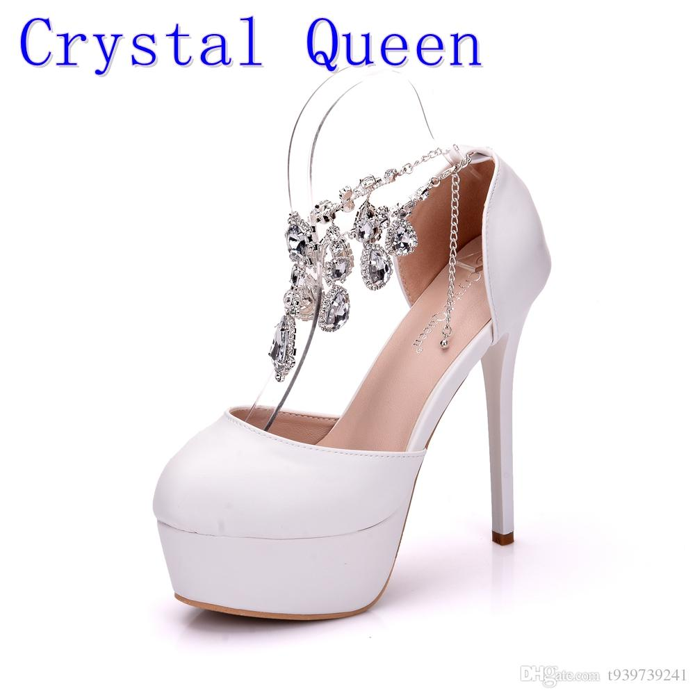Crystal Queen Fashion Women Pumps White Rhinestone High Heels Dreamlike Crystal  Wedding Shoes Party Shoes Christmas Shoes Pink Shoes Munro Shoes From ... d7079d20751f
