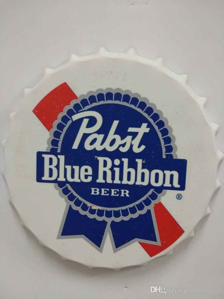 2019 Pabst Blue Ribbon Beer Round Tin Sign Bottle Cap Design Beer