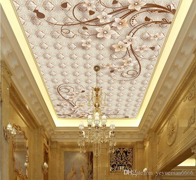3D потолочные фрески обои настроить обои для стен 3 d потолочные фрески Европейский цветок винограда 3D потолочные обои для гостиной