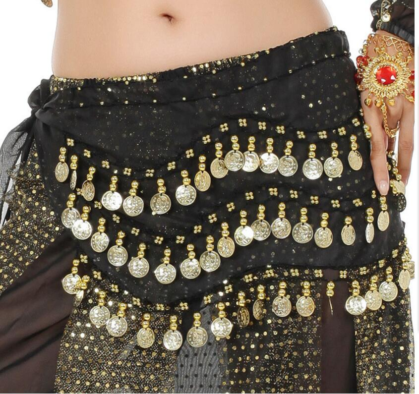 Egypt Belly Dancing Hip Skirt Scarf Wrap Belt Costume Belly Dance Waist Chain decoration Scarf Apron 3 Rows 128 Coins