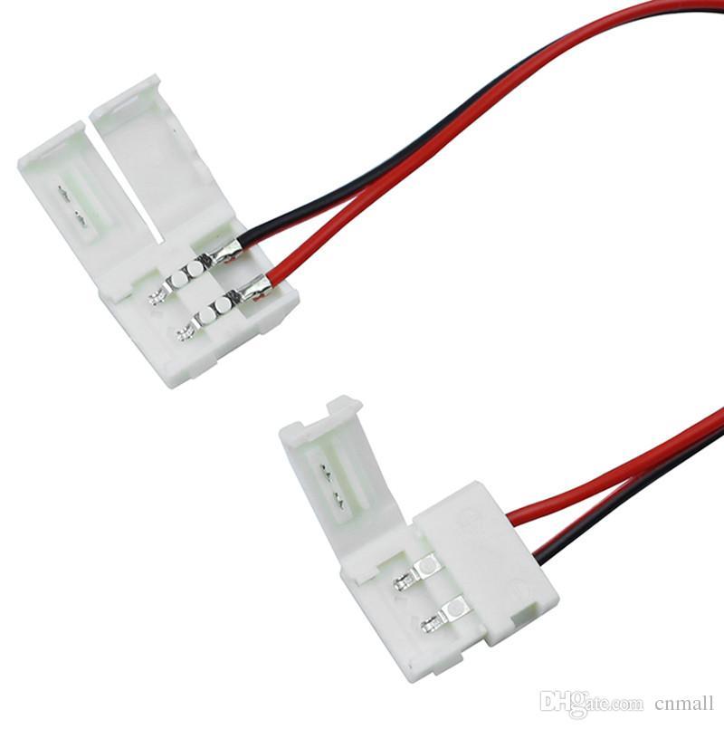 8mm 10mm 2pin Konektörü 3528 5050 5630 Tek Renk Için LED Şerit LED PCB Kurulu Bağlayıcı Tel