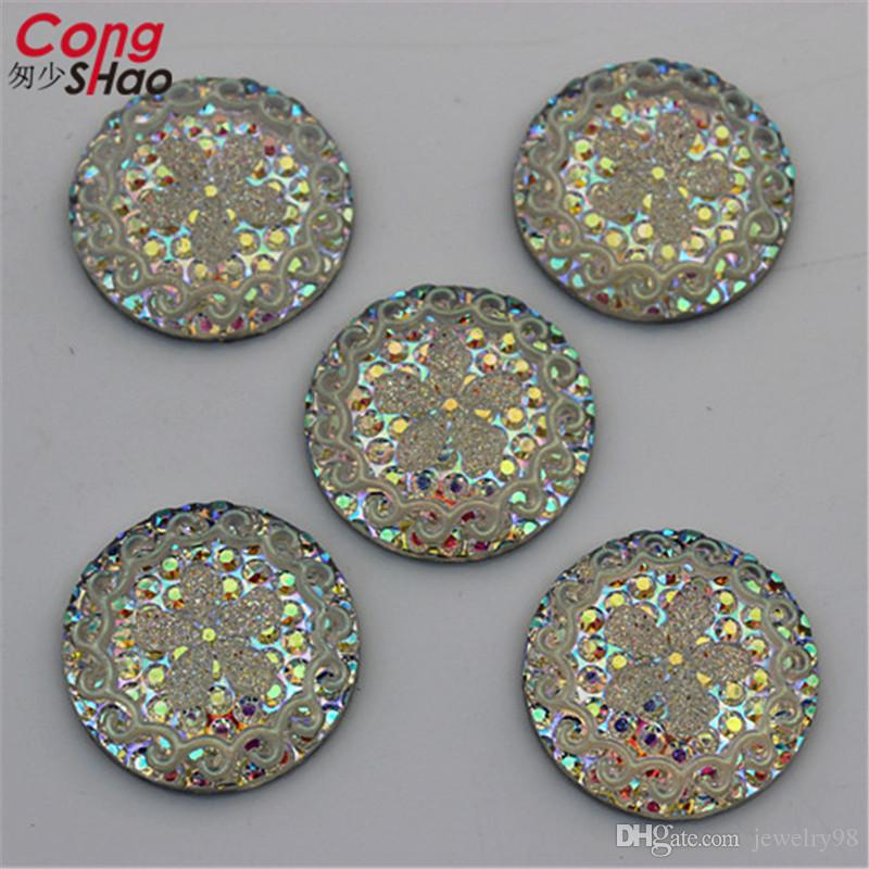 25mm AB Clear Round Shape Resin Rhinestones Crystal Flatback Buttons Beads For Jewelry Crafts Decoration No hole ZZ562