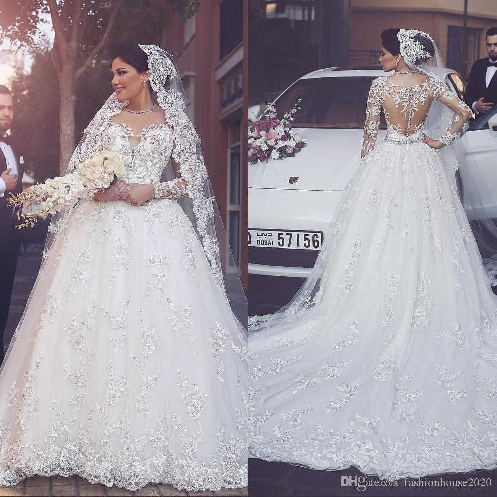47490bcadc261 Sexy Manga Comprida Árabe Vestidos de Casamento 2017 Scoop Neck Applique De  Luxo De Cristal Vestidos de Casamento Plus Size Vestidos de Noiva Do  Casamento