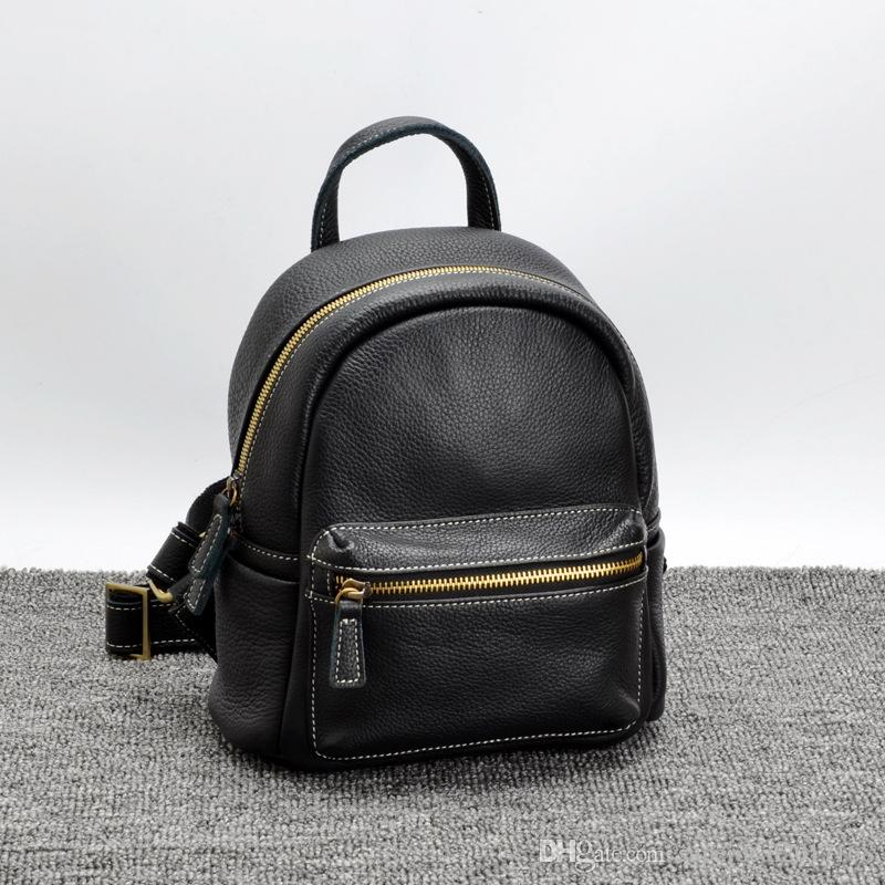 f4a8bdeab8d Women Luxury Designer Mini Backpacks Genuine Leather Backpack Zipper  Closure Bags Casual School Bags Ladies Fashion Travel Shoulder Bags Bags  Rucksack From ...