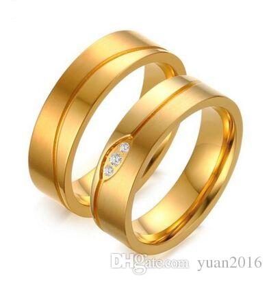 c5308b6f33 2019 Gold Color Wedding Ring For Women/Men With CZ Stone Hot Sale In USA  And Europe Couple Wedding Ring From Yuan2016, $2.49 | DHgate.Com