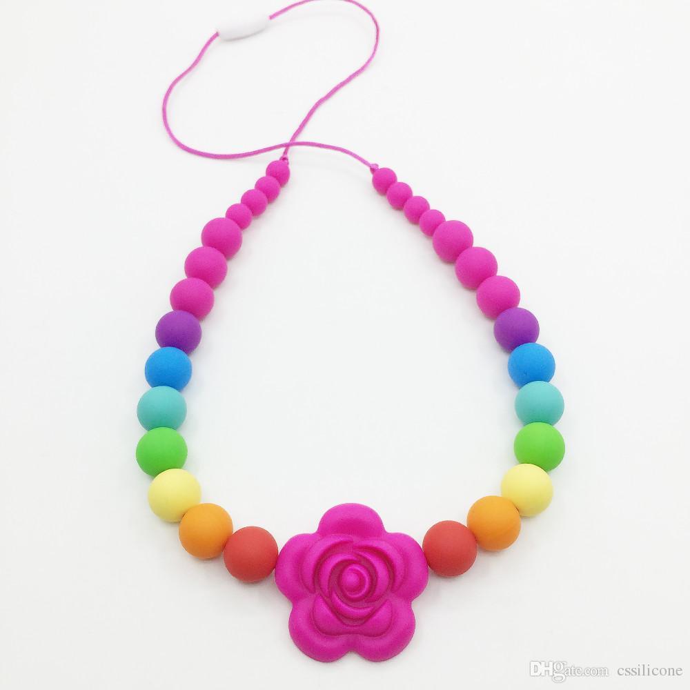 Regenbogen ausgesetzt Schnur Halskette - Silikon Kinderkrankheiten Halskette Blume Perle für Baby gekaut