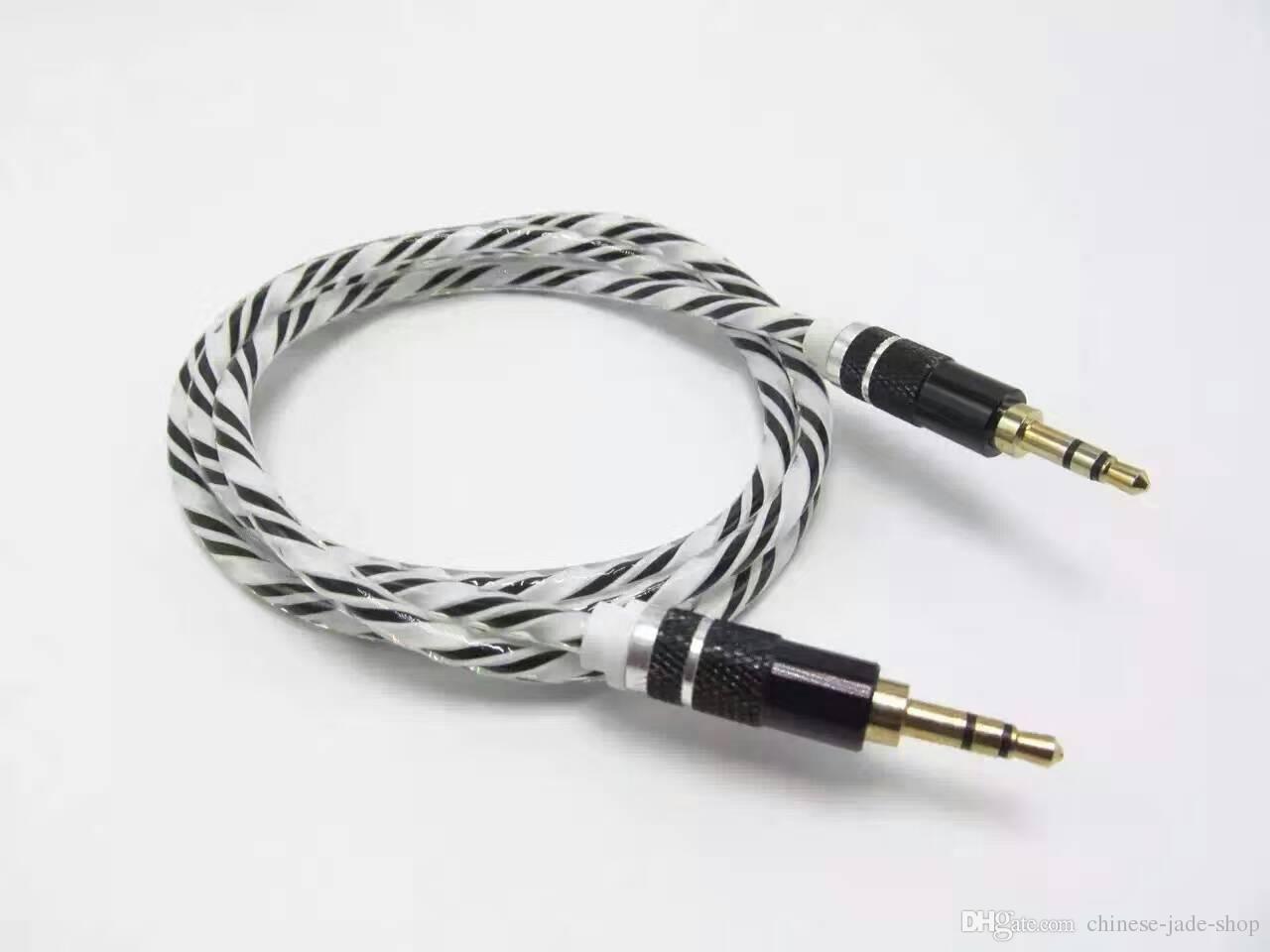 Kryształ Rianbow Delikatny Odważny aluminiowy metalowy kabel adaptera 3.5mm Stereo Audio Aux Cable 1M 3FT 1000 sztuk / partia