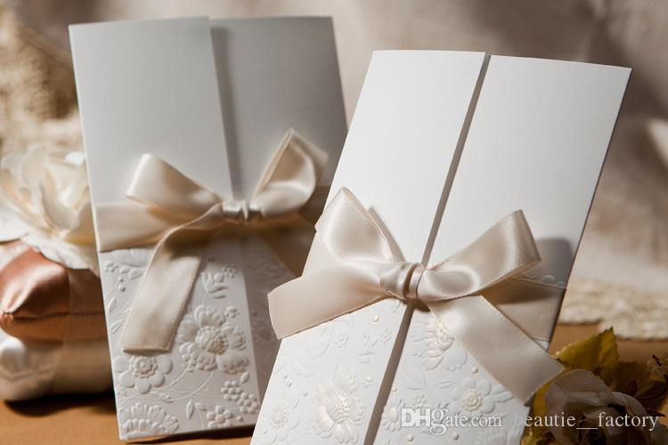 Wedding Invitations Cards With Ribbon Bow Include Envelopes Seals