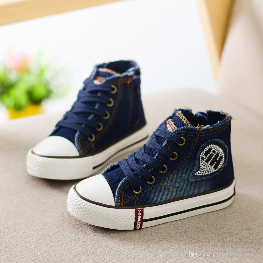 9874a46ce57a Children Canvas Shoes Kids Boys Girls Denim Fashion Sneakers High Top  Sneakers Classic Spring Casual Shoes For Chrismas Athletic Shoes Toddler  Boy Dress ...