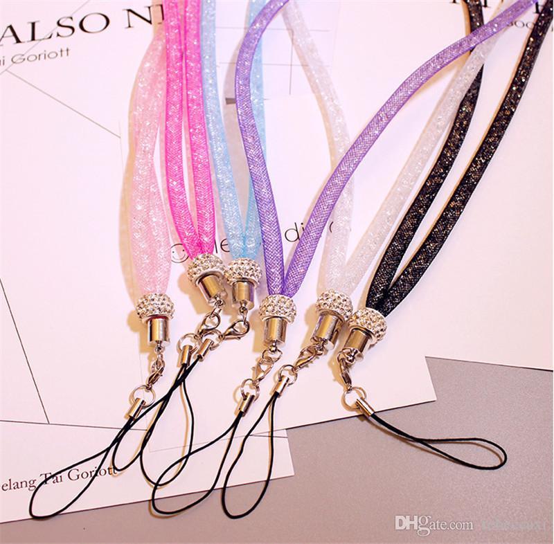 Párrafo universal sección larga colgando cordón cordón de cristal Crystal Rhinestone en el cuello con cierre de garra ID Badge Holder para teléfono móvil