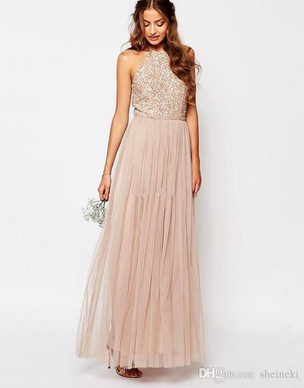 2017 new champagne bohemia halter pescoço tule longo vestidos de dama de honra sparkly lantejoulas casamento maid of honor vestidos de festa custom made