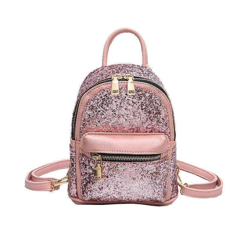 58e85f8948 Newest Backpacks Female Sequins Shoulder Bag PU Leather Travel Backpack  Women Fashion Shoulder Messenger Bags Cute Small Bag Back Pack Pink  Backpacks ...