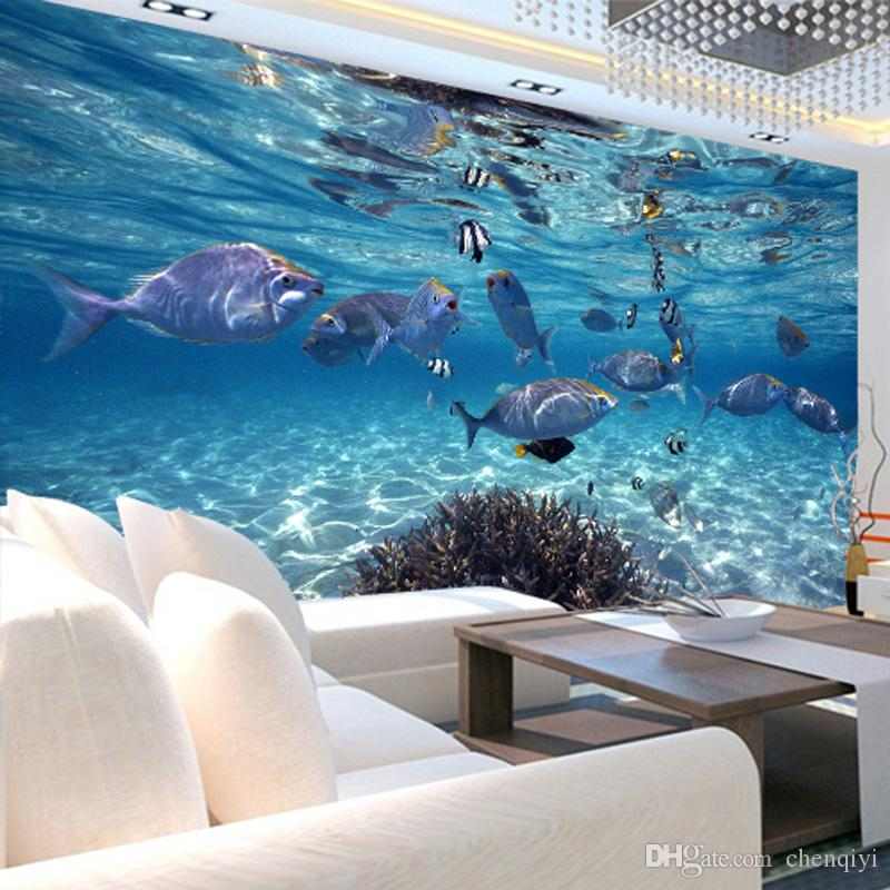 Modern fashion children underwater world fish customized Mural 3d wallpaper child bedroom real tv background wallpaper marine wall stickers