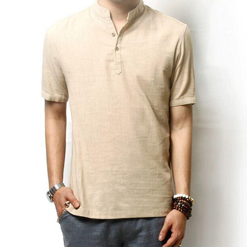 Men'S Linen Shirt Casual Short Sleeve T Shirt Solid Loose ...