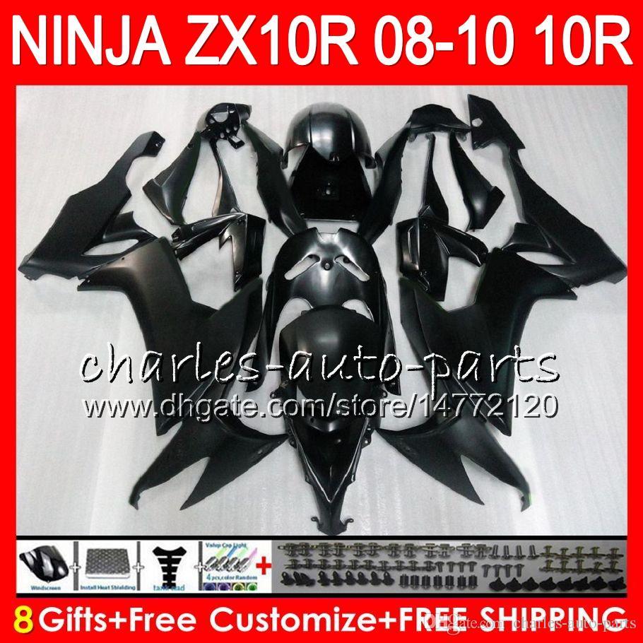 8Gifts Body for Kawasaki Ninja ZX1000C ZX10R 08 09 10 47HM14 ZX1000 Matt Black C ZX 10 R ZX-10R ZX 10R 2008 2009 2010 Fairing Kit